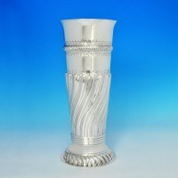 j7035: Antique Sterling Silver Vase - Hallmarked In 1893 London - Victorian - image 1