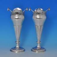 j8439: Sterling Silver Pair Of Vases - Mappin & Webb Hallmarked In 1918 Sheffield - George V  - image 1