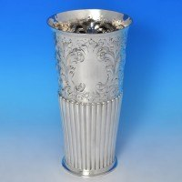 j9301: Antique Sterling Silver Vase - Atkin Brothers Hallmarked In 1894 Sheffield - Victorian - image 1