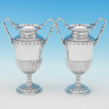L0492: Antique Sterling Silver Pair Of Vases - Nathan & Hayes Hallmarked In 1910 Chester - Edwardian - Image 1