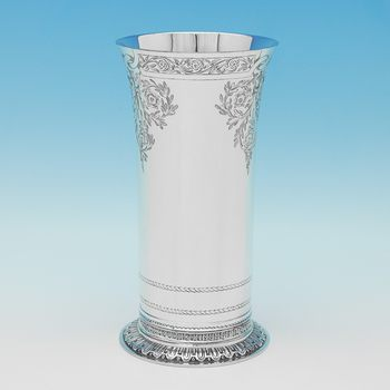L0862: Antique Sterling Silver Vase - Lambert & Co. Hallmarked In 1911 London - George V - Image 1