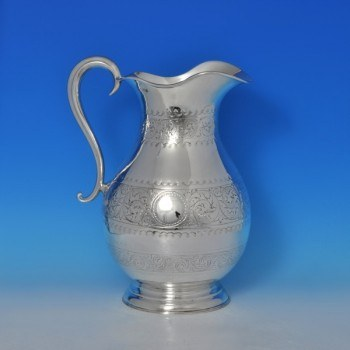 j8205: Antique Sterling Silver Water Jug - James Jay Hallmarked In 1898 London - Victorian - image 1
