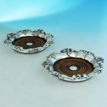 B1098: Antique Silver Plate Pair Of Wine Coasters - Unknown Made Circa 1870 Unknown - Victorian - Image 1