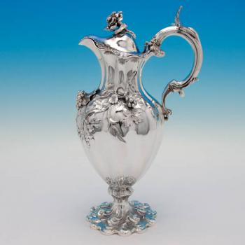 B5533: Antique Sterling Silver Wine Ewers - Charles Fox Hallmarked In 1841 London - Victorian - Image 1