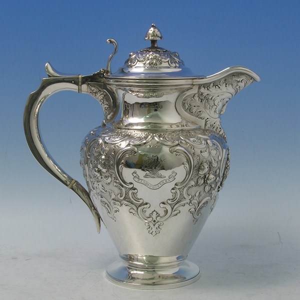 d4299: Antique Sterling Silver Wine Ewer - Hallmarked In 1861 Edinburgh - Victorian - image 1