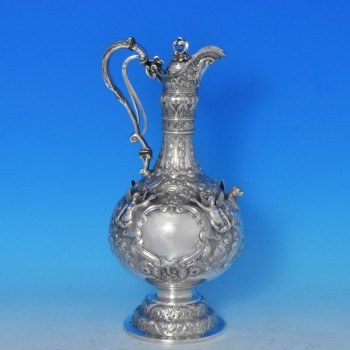 j8122: Antique Sterling Silver Wine Jug - Martin Hall & Co. Hallmarked In 1896 Sheffield - Victorian - image 1