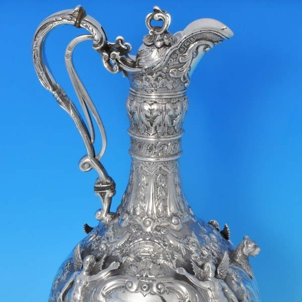 j8122: Antique Sterling Silver Wine Jug - Martin Hall & Co. Hallmarked In 1896 Sheffield - Victorian - image 2