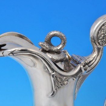 j9867: Antique Sterling Silver Wine Ewer - Steven Smith Hallmarked In 1879 London - Victorian - image 3